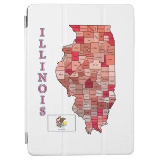 イリノイの旗そして地図 iPad AIR カバー