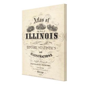 イリノイ州のとびらの地図書 キャンバスプリント