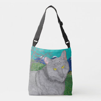 イリーナ山のBaldyのバッグの猫そして眺め クロスボディバッグ