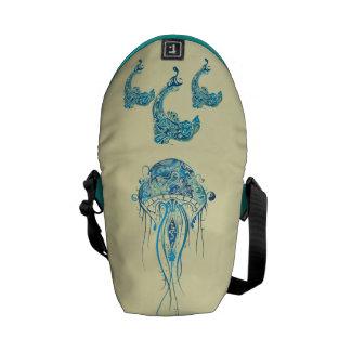 イルカおよびくらげの小型ゼロメッセンジャーバッグ クーリエバッグ