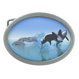 イルカおよびシャチ 卵形バックル