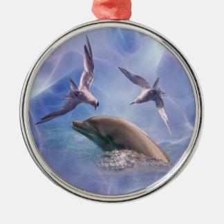 イルカおよびダイビングの鳥 メタルオーナメント