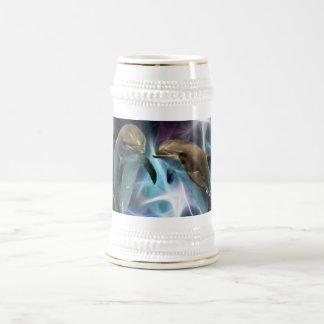 イルカおよびフラクタルの水晶 ビールジョッキ