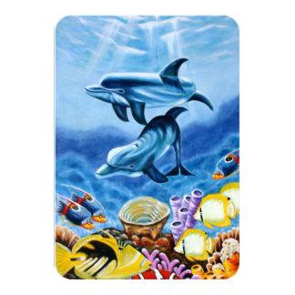 イルカおよび熱帯魚の芸術 カード