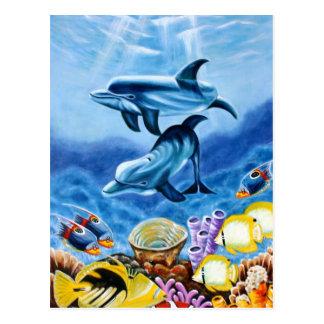 イルカおよび熱帯魚の芸術 ポストカード