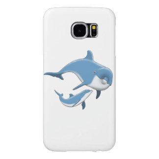 イルカおよび空色の白の海は生み出します SAMSUNG GALAXY S6 ケース