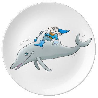 イルカに乗る格言 磁器プレート