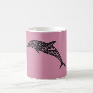 イルカのシルエットのタイポグラフィ コーヒーマグカップ