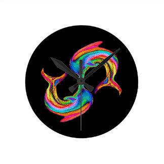 イルカのネオン柱時計 ラウンド壁時計