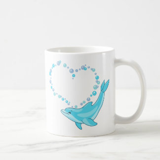 イルカのハート コーヒーマグカップ