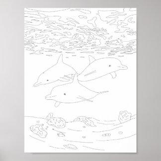 イルカのポッドの大人の着色ポスター ポスター