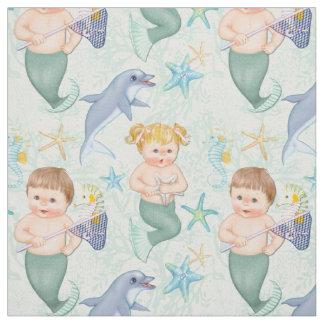 イルカの人魚との水泳 ファブリック