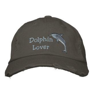 イルカの恋人の海の海のほ乳類 刺繍入りキャップ