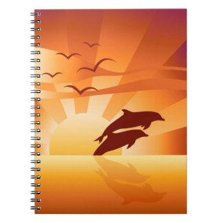 イルカの日没のノート ノートブック