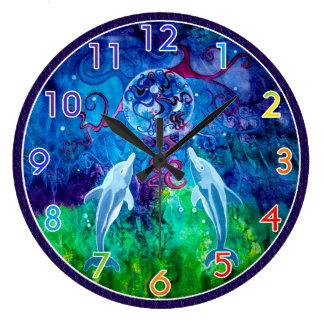 イルカの熟視によって番号を付けられる柱時計 ラージ壁時計