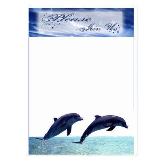 イルカの結婚式招待状のビーチ結婚式の披露宴 ポストカード