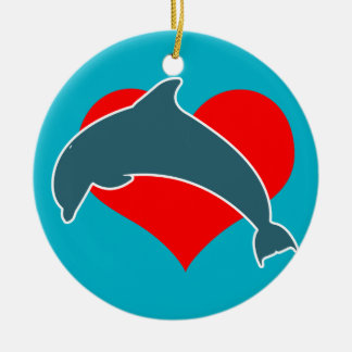 イルカはオーナメントをlove セラミックオーナメント