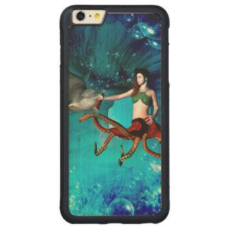イルカを持つタコの女性 CarvedメープルiPhone 6 PLUSバンパーケース