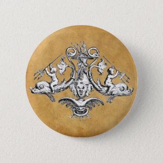 イルカ、天使およびガーゴイルの航海のな紋章 5.7CM 丸型バッジ