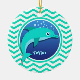 イルカ; 水緑のシェブロン セラミックオーナメント