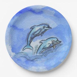 """""""イルカ""""、9インチの紙皿の紙皿9 ペーパープレート"""