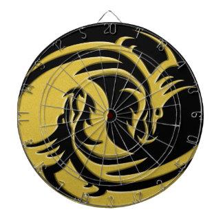インおよびヤンの金ゴールドおよび黒いドラゴン ダーツボード