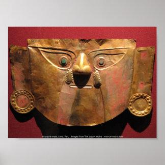 インカ人の金ゴールドのマスク、リマ、ペルー ポスター