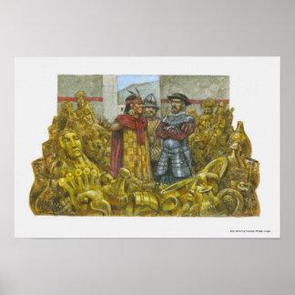 インカ人皇帝Atahualpaの隣のフランシスコPizarro ポスター