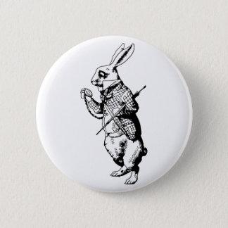 インクがしみ込む白いウサギ- 5.7CM 丸型バッジ