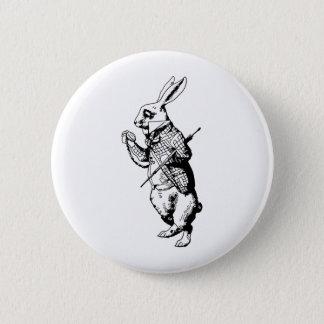 インクがしみ込む白いウサギ 5.7CM 丸型バッジ
