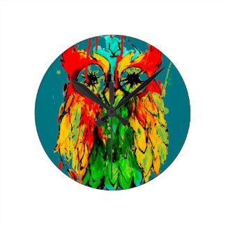 インクフクロウ-明るい着色された絵を描く時計--を入れ墨して下さい ラウンド壁時計