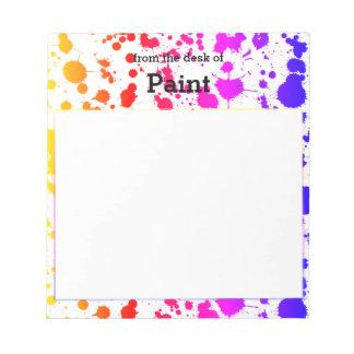 インクペンキのしぶきの(ばちゃばちゃ)跳ねるのカラフルで明るい虹 ノートパッド