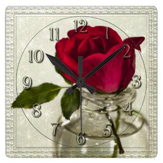 インク瓶の赤いバラ スクエア壁時計