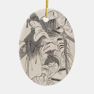 インク絵画の戦士の武士のHokusaiのクラシックな芸術 セラミックオーナメント