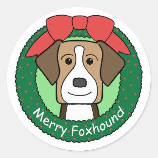 イングリッシュ・フォックスハウンドのクリスマス ラウンドシール