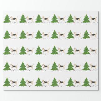 イングリッシュ・フォックスハウンドのシルエットのクリスマスのデザイン ラッピングペーパー