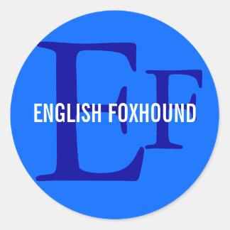 イングリッシュ・フォックスハウンドの品種モノグラム ラウンドシール