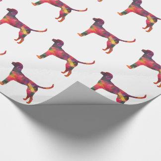 イングリッシュ・フォックスハウンド幾何学的なパターン犬のシルエット ラッピングペーパー