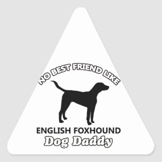 イングリッシュ・フォックスハウンド犬のお父さん 三角形シール