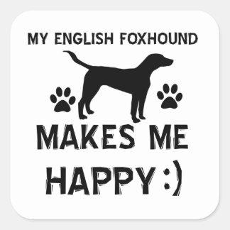 イングリッシュ・フォックスハウンド犬のデザイン スクエアシール