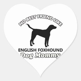 イングリッシュ・フォックスハウンド犬のデザイン ハートシール