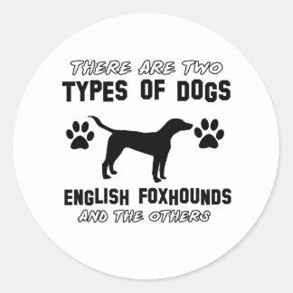 イングリッシュ・フォックスハウンド犬のデザイン ラウンドシール