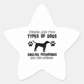 イングリッシュ・フォックスハウンド犬のデザイン 星シール