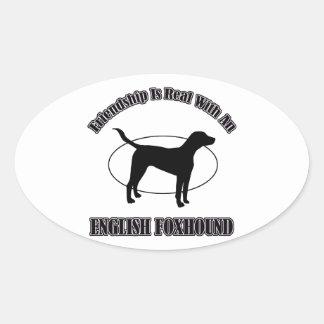 イングリッシュ・フォックスハウンド犬のデザイン 楕円形シール