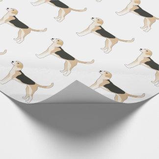 イングリッシュ・フォックスハウンド犬の品種絵 ラッピングペーパー