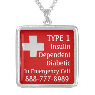 インシュリンの依存した糖尿病患者 シルバープレートネックレス