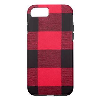 インスパイアバッファローの格子縞、赤く及び黒く粋なフランネル iPhone 8/7ケース