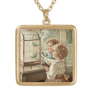 インスパイア愛鳥および子供のヴィンテージ ゴールドプレートネックレス