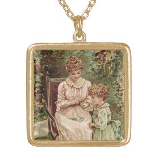 インスパイア母および子供のヴィンテージ ゴールドプレートネックレス