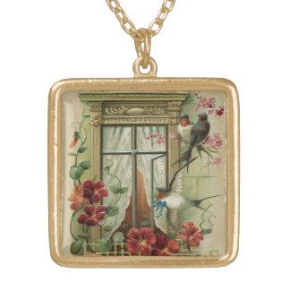 インスパイア窓の鳥のヴィンテージ ゴールドプレートネックレス